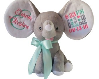 Big Ear Dumble Elephant, Coral, Mint green, Custom Embroidery Birth Announcement, Stuffed Animal Birth Stat Block