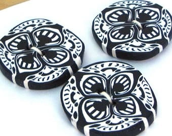 Handmade Buttons Black and White Polymer Clay 23mm