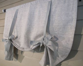 "Gray Linen with Grosgrain Ribbon Ties 36"" Long Swedish Roll Up Shade Stage Coach Blind Tie Up Curtain Farmhouse Balloon Custom Made to Order"
