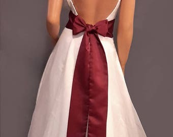Satin wedding sash bridal belt prom evening pageant tie bridesmaid belt SSH100 AVL IN wine and 18 other colors CHOOSE Length & Width