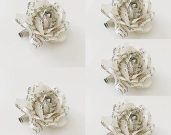 5 Sia's Book Page Paper Rose Hair Clips