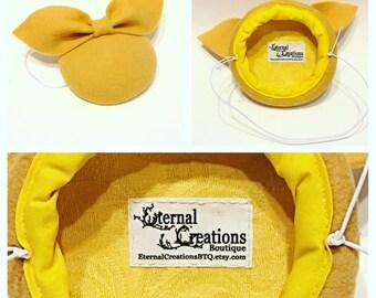 Yellow wool felt button hat