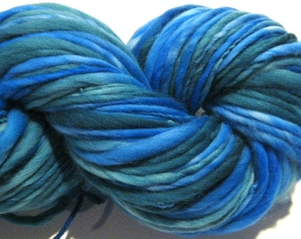 Handspun Yarn Deep Sea Fishing 134 yards blue yarn green yarn hand dyed merino wool knitting supplies  waldorf doll hair knitting supplies