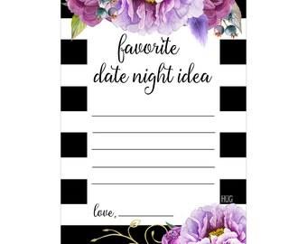Digital Printable Favorite Date Night Bridal Shower Game with Purple Flowers on Black DN001