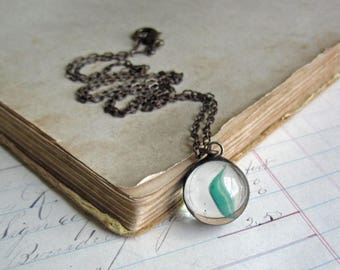 Teal Cat's Eye Marble Necklace, Stained Glass Soldered Jewelry, Under 20 Gift