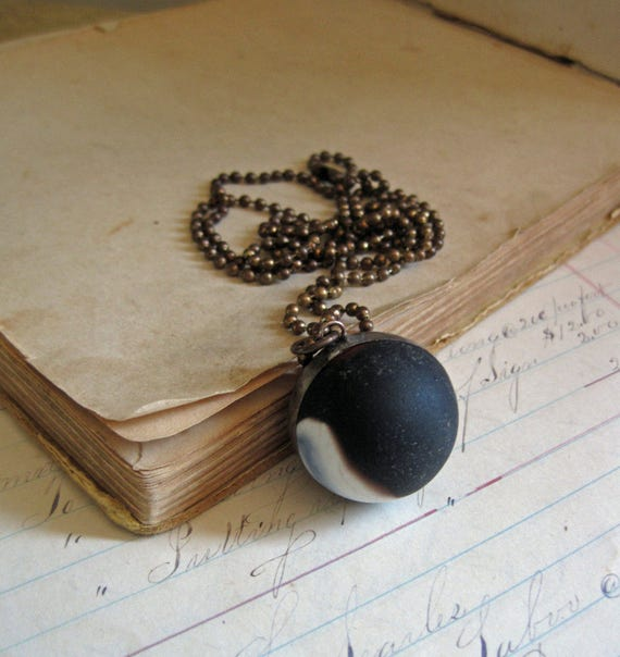 Glass Shooter Marble Necklace Black White Red Matte  *Sale*
