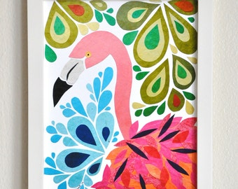 Francine Flamingo - 8x10 Fine Art Print, Flamingo Art, Pink Bird, Florida, Beach Decor, Nursery Decor, Paper Collage, Cut Paper, Children
