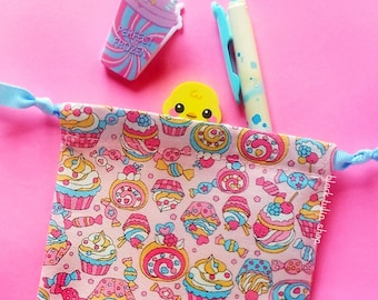 Small Pouch Bag Drawstring Tote Pastel Sweets Cupcakes Candy Fabric Bag Coin Pouch Cosmetic Pouch Cotton Small Change Purse Gift Bag