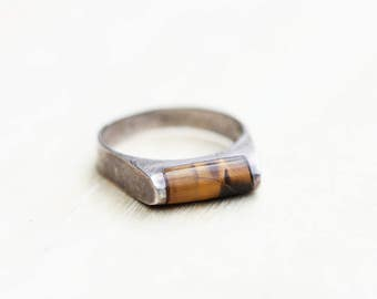Tigers Eye Ring, Stone Ring, Tigers Eye Stone Ring, Stone Ring, Sterling Silver Ring, Sterling Silver Stone Ring, Brown Stone, Size 7.5 Ring