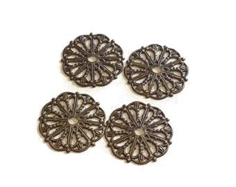4 pieces Medallion Filigree, Brass, 17.5mm, Vintaj Natural Brass Item F034