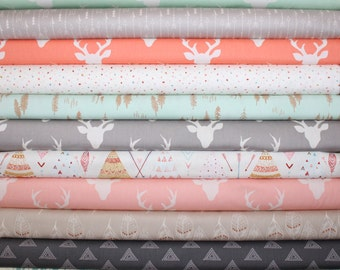 Baby, Girl, Customized, Bundle, Pink, Coral, Mint,Gray, Grey,Soft,Blue, Woodland, Fabrics, Modern, Rustic,You Choose 8, FREE SHIPPING to US