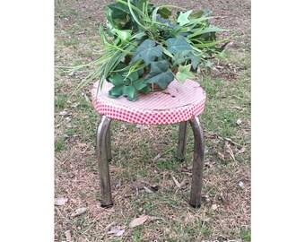 Step Stool - Foot Stool - Metal Stool - Retro Stool - Side Table - End Table - Plant Stand - Bathroom Stool - Gingham Print - Vintage Stool