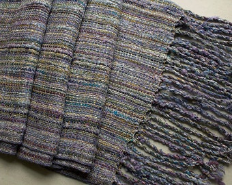 """Handwoven Hand-dyed Wrap/Shawl with Twisted Fringe, Lavender Summer - 86""""x14.5"""""""