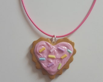 Cookie Charm Necklace - Pink Icing with Sprinkles
