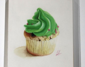 """Cupcake Print of watercolor painting, """"Mint Chip"""" (left) Framed"""