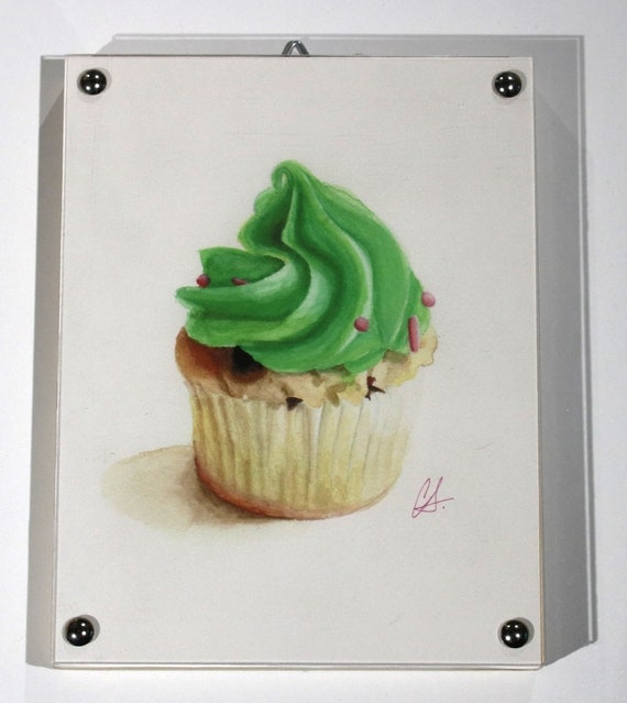 "Cupcake Print of watercolor painting, ""Mint Chip"" (left) Framed"