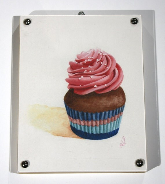 "Cupcake Print of watercolor painting, ""Pink Swirl"" Framed"