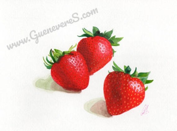 Strawberries watercolor still life original painting