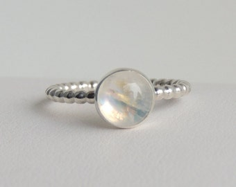 Rainbow Moonstone Ring Sterling Silver Gemstone Solitaire Ring Size 7
