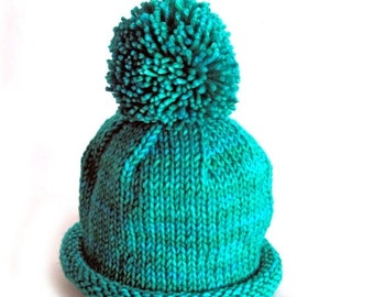 HOLIDAY SALE - Hand Knit Pom Pom Baby Hat, Merino Wool Cashmere Yarn, Turquoise Teal Blue Green