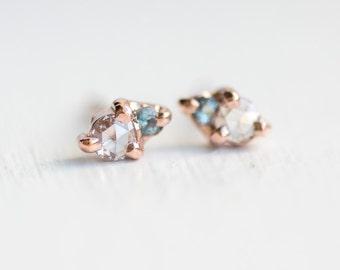 Little Kinship Studs in Aquamarine // Diamond and Aquamarine Studs in 14k Rose Gold // Rose Cut Diamond and Aquamarine Cluster Earrings