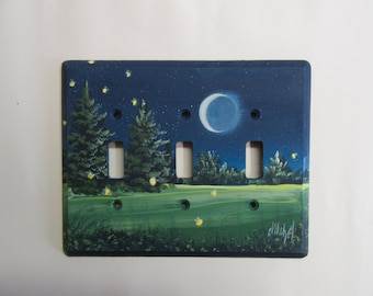 Triple Switch Plate with Fireflies   Crescent Moon