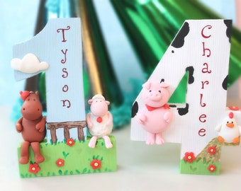 Barnyard farm birthday cake topper, wood number - animals pig cow chicken horse sheep farm barn personalized keepsake kid room decoration