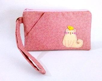 Pink Wristlet Wallet, iPhone Wristlet, Wristlet Pouch, Zipper Wallet, Cat Wristlet Purse, Clutch Purse, Cat Wristlet - White Cat