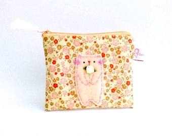 Cat coin purse, cute pouch, zipper coin pouch, card wallet, gift for sister, cat coin pouch, coin wallet, cat lovers gift, small pouch