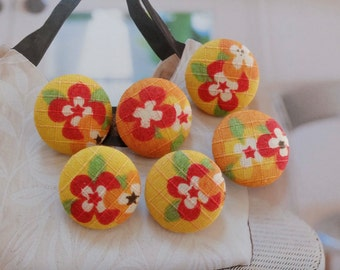 Japanese Traditional Spring Color Red Cherry Blossom Sakura Floral On Yellow Orange-Handmade Fabric Covered Buttons(0.87 Inches, 6PCS)