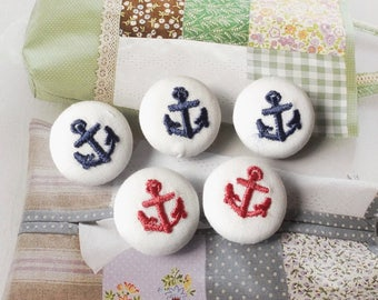 Embroidered Dark Blue Pink Nautical Marine Anchors On White, Choose Color-Handmade Fabric Covered Buttons(0.75 Inches, 5PCS)