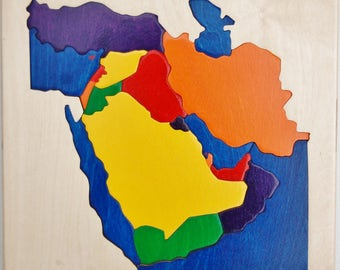 Middle East wooden map puzzle - NEW from Puzzle People.  Educational for adullts, students, kids.