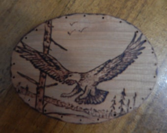 Oval Wood Burnt Image of a Flying Eagle Basket Bottom or Other Craft Project
