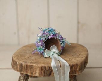 newborn or sitter flower bonnet, sitter or newborn flower bonnet, photo prop, photo bonnet with flowers