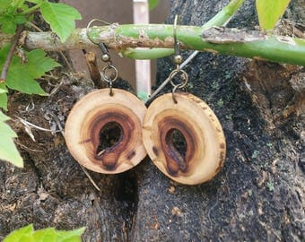 Salvaged Chokecherry Earrings, Boho Earrings, Spalted Wood Earrings