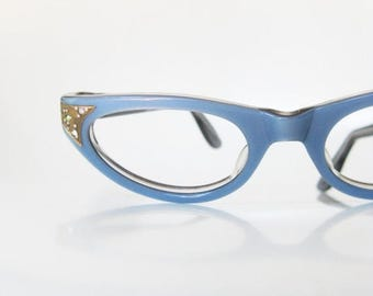 ON SALE Vintage 1960s Blue Cat Eye Eyeglasses Glasses Pastel Rhinestone Pin Up Deadstock Swan Optical USA Robins Egg 60s Sixties Womens Ladi