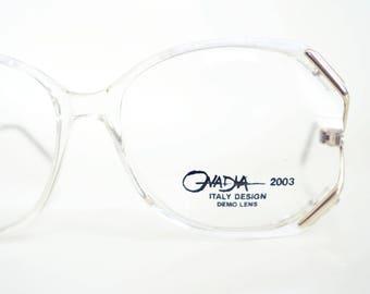 Vintage White Clear Eyeglasses 1980s Oversized Womens Glam Glasses Optical Frames Italy 80s Pearl Metallic Boho Chic Retro