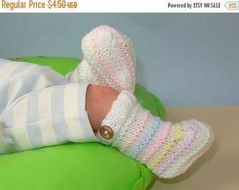 50% OFF SALE Digital file pdf download knitting pattern only- Easy Baby Candy Stripe Botties knitting pattern pdf download
