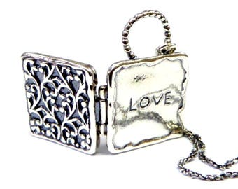 Sterling Silver Love Locket necklace square shape  with flowers gift, gift for mom, gift of love. Necklace for woman.