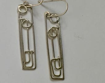 After Frank Lloyd Wright's Windows Argentium Silver Dangle Earrings