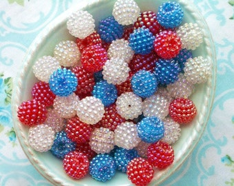 Berry Beads - Patriotic Mix- 15mm - Set of 20