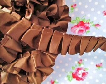 Box Pleated Satin Chocolate Truffle Brown Ribbon/Trim - 7/8 inch - 1 Yard