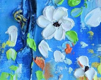 Original Floral ACEO White Flowers Miniature Oil Painting Impasto Flower Art