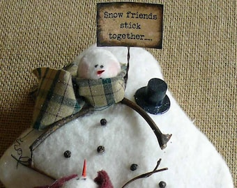 Snow Friends Stick Together Melting Snowmen Fabric Winter Ornament Decoration