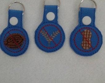 Allergy Alert Snap Tab -  Keychain - Backpack - Gluten Allergy - Peanut Allergy - Tree Nut Allergy - Zipper Pull - Medical Bag Tag
