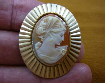 classic Woman with curled hair in headband looking down oval hand carved shell CAMEO brass pin pendant c1372