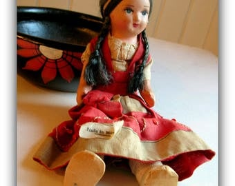 Vintage 1930's Composition Senorita Mexican Doll