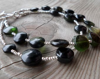 Large Green, Orange and Black Tourmaline Gemstone and Birthstone Sterling and Fine Silver Double Strand Bracelet