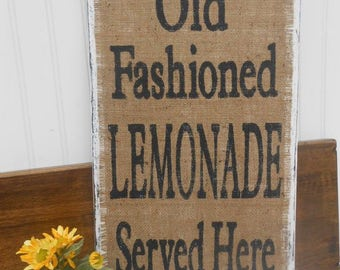 Business sign,  Wall Décor,  Wall Hangings,  vintage refreshments, vintage kitchen sign, shabby chic lemonade, old fashioned lemonade,