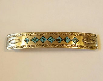 Native American Navajo Sterling Silver and Turquoise Inlay Hair Barrette circa 1960s